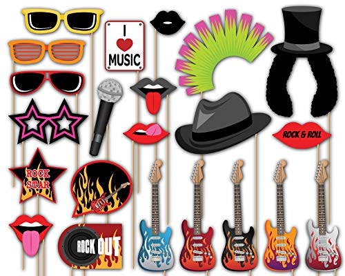 Birthday Galore Rock Star Photo Booth Props Kit - 20 Pack Party Camera Props Fully Assembled