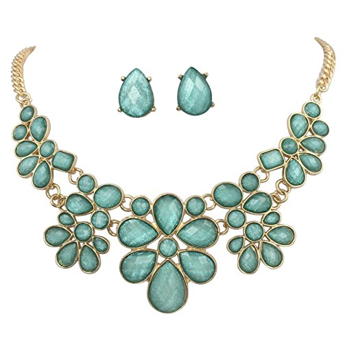 Gypsy Jewels Abstract Dot Bubble Gold Tone Boutique Statement Necklace Earrings Set - Assorted Colors (Light Aqua - Pearl Teal Set