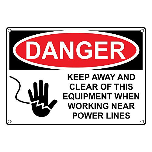 (Weatherproof Plastic OSHA Danger Keep Away Clear This Equipment Power Lines Sign with English Text and Symbol)