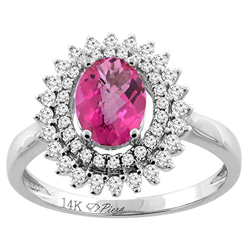 14K White Gold Natural Pink Topaz Ring Oval 8x6 mm Double Halo Diamond Accents, size 10
