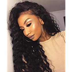 Eayon Hair Loose Curly Full Lace Human Hair Wigs-Glueless 130% Density Brazilian Virgin Remy Wigs with Baby Hair for Black Women Natural Color 14Inch