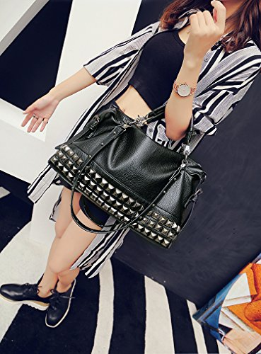 Mn&Sue Modern Punk Pu Leather Cross Body Silvery Rivet Studded Shoulder Nightclub Hobo Handbag for Lady by Mn&Sue (Image #6)