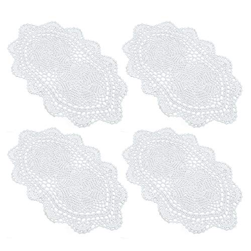 "yazi Lace Coasters Doilies Set of 4 White Color Handmade Oval Crochet Cotton Lace Table Placemats 9"" by 16"""