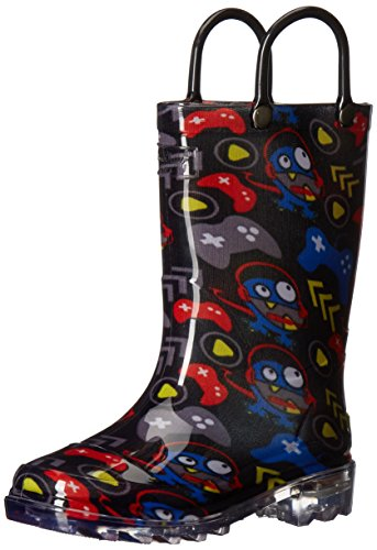 Western Chief Boys Waterproof Rain Boots that Light up with Each Step, Gamer, 13 M US Little Kid