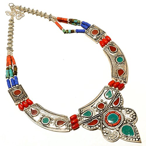 Nepali Work Jewelry! Green Malachite, Lapis, Red Coral Sterling Silver Overlay 80 grams Necklace (Coral Malachite Necklace)