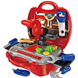 kids toolbox set - Gizmovine Tool Set for Kids with Sturdy Carry Case, Toolbox for Pretend Play with 19 Pretend Play Construction Accessories