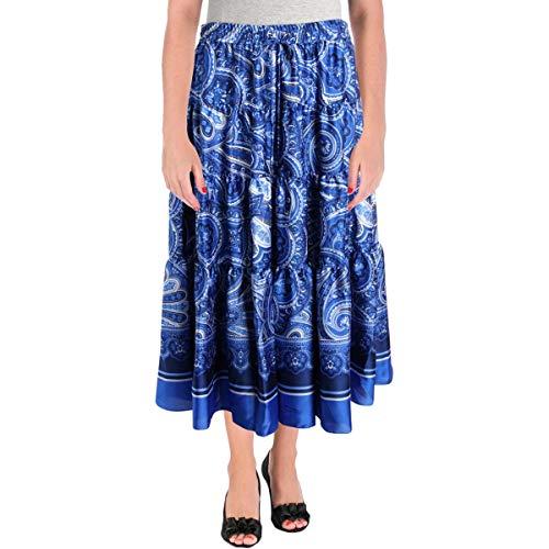 LAUREN RALPH LAUREN Womens Plus Oretha Paisley Peasant, Boho Skirt Blue - Skirts Women Lauren Ralph