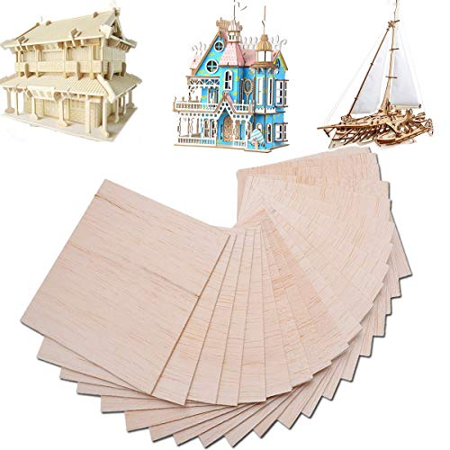 15pcs Balsa Wood Sheets Plate Wooden for House Airplane Ship Boat DIY Model 150x100x2mm -