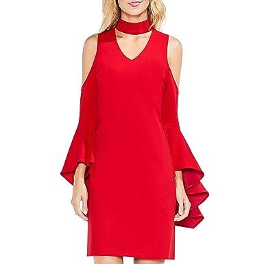 a19cb012593fe Vince Camuto Womens Cold-Shoulder Handkerchief Sleeve Chocker Neck Dress  True Crimson SM One Size