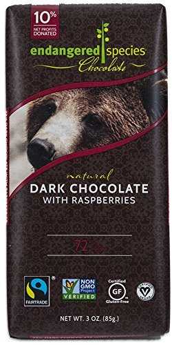 Endangered Species Grizzly, Natural Dark Chocolate (72%) with Raspberries, 3-Ounce Bars (Pack of 12) by Endangered Species by Endangered Species