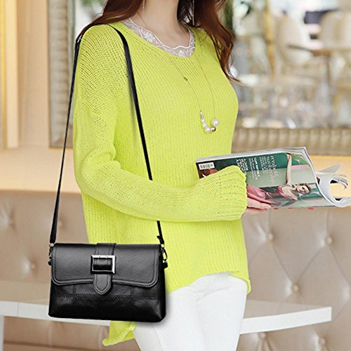 Flap Bag Casual PU Shoulder Women Bag Handbag Messenger Pure Leather Everpert Black qpvCx6naa