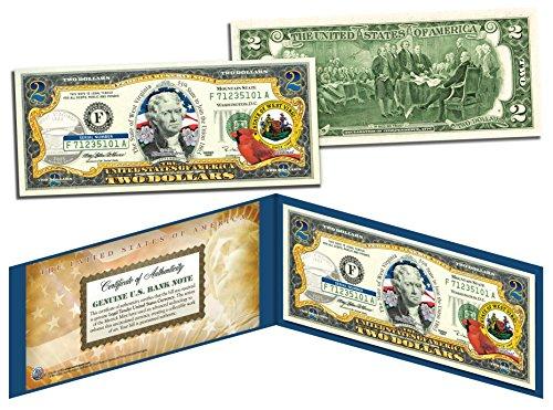 (WEST VIRGINIA $2 Statehood WV State Two-Dollar U.S. Bill *Legal Tender* w/Folio)