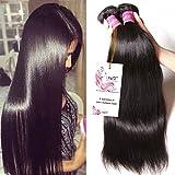Unice Hair 7a Malaysian Straight Hair 3 Bundles Virgin Unprocessed Human Hair Wefts Hair Extensions Deal with Mixed Lengths 100% Human Hair Extensions (18 20 22, Natural Black)