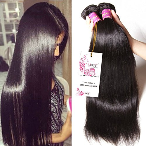 Unice Hair 7a Malaysian Straight Hair 3 Bundles Virgin Unprocessed Human Hair Wefts Hair Extensions Deal with Mixed Lengths 100% Human Hair Extensions (18 20 22, Natural Black) by UNICE