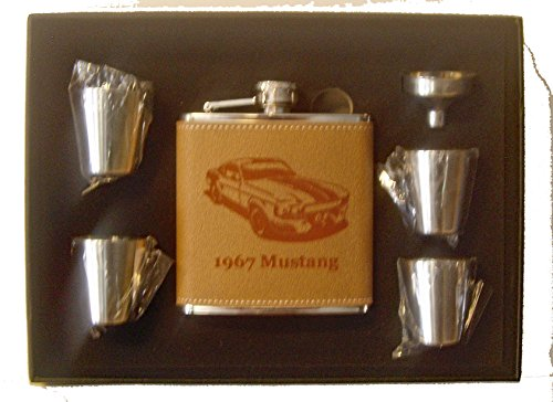 (1967 Ford Mustang GT500 Engraved Leather 6 oz Stainless Steel Flask with 4 Stainless Steel Shot Glasses and a Funnel in a Black Presentation Box)
