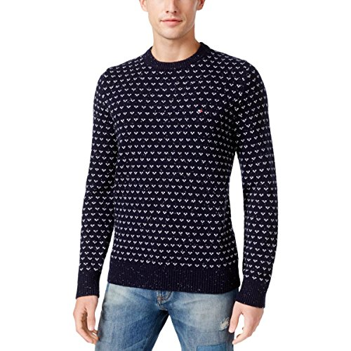 Tommy Hilfiger Nylon Sweater - Tommy Hilfiger Mens Ribbed Trim Pattern Pullover Sweater Navy L