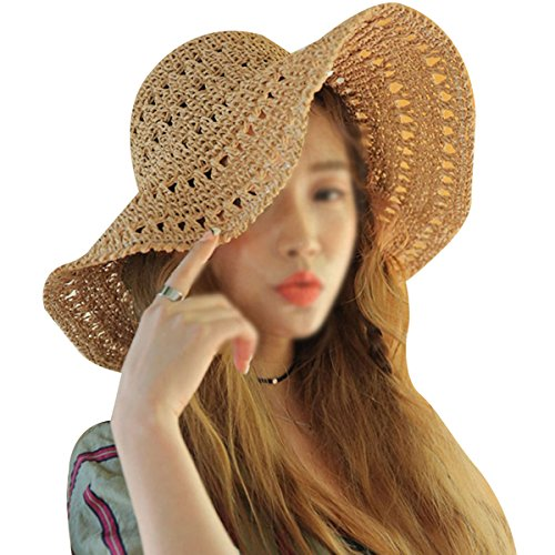 (Rebecca Women Foldable Wide Brim Roll-up Crocheted Straw Hat Beach Sun Visor Cap UV Protection Sun Hat (Coffee))
