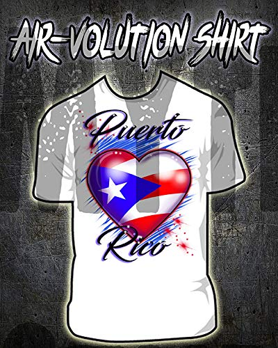 a7527887d Amazon.com: Personalized Airbrushed Puerto Rico Flag Heart Shirt: Handmade