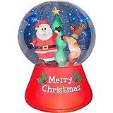 Christmas Inflatable LightShow LED Snow Globe 5.5' Santa & Reindeer Decorating Christmas Tree By Gemmy