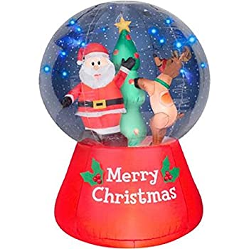 Amazon.com: Gemmy Inflatable Airblown Snow Globe with Santa and ...