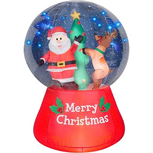 Christmas Inflatable LightShow LED Snow Globe 5.5' Santa & Reindeer Decorating Christmas Tree By Gemmy by Gemmy