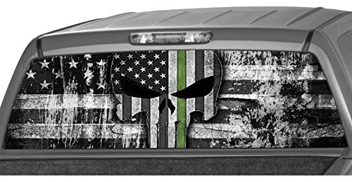 MotorINK American Flag B&W Punisher Skull Army Green Line Rear Window Graphic Decal Tint Sticker Truck SUV ute ... (Size C 22