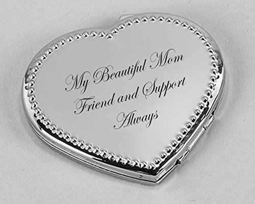 Personalized Dotted Silver Heart Compact Mirror Engraved ()