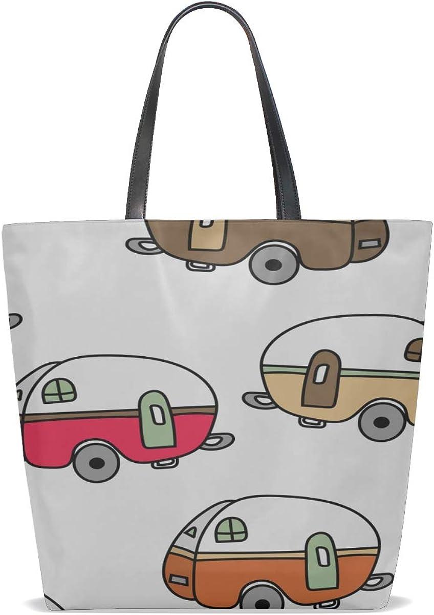 Handbag Handles Handle Satchel Girls Shoulder Bag Purse Messenger Bags Handbags Shoulder Bag Happy Retro Spring Romantic Camper Car Printing Large Tote Purse
