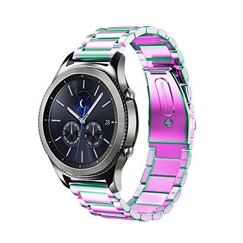 Oitom Stainless Steel Bands Compatible Galaxy Watch(46mm) /Gear S3 Classic/Gear S3 Frontier,Premium Solid Steel Watch Band Link Braceletfor Samsung Gear S3 Classic/Frontier Smart Watch (Rainbow)