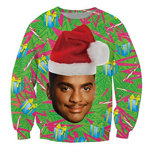 KSJK Unisex Funny Print Ugly Christmas Sweater Jumper 015 -