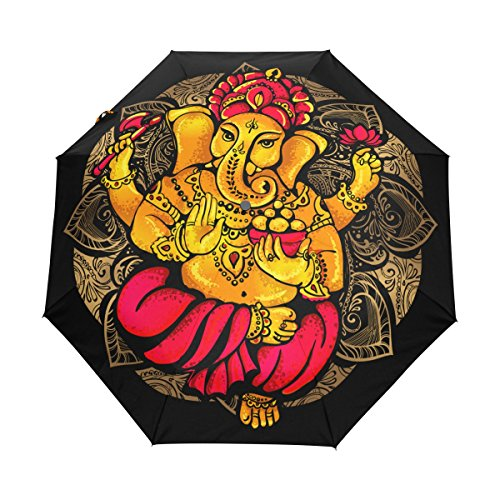Indigo Lightweight Tote (Ganesh Ganesha UPF 50+ Anti-UV Parasol Waterproof Windproof 3 Folds Auto Open Close Lightweight Umbrella)