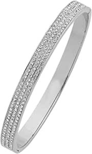 Bevilles Stainless Steel Crystal Three Row Pave Bangle