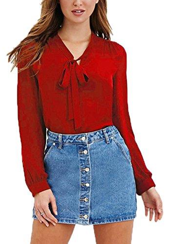 OMZIN Women Bow Tie Chiffon Blouse See Through Work Business Shirt Tops Red 6XL