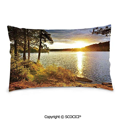 SCOCICI Customized Printed Cotton Rectangle Pillow Case,16