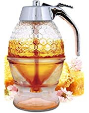 Hunnibi Glass Honey Dispenser, Syrup Dispenser, Sugar Container, Honey Pot, Glass Container Jar - Comes With Stopper & Replaces Honey Dipper