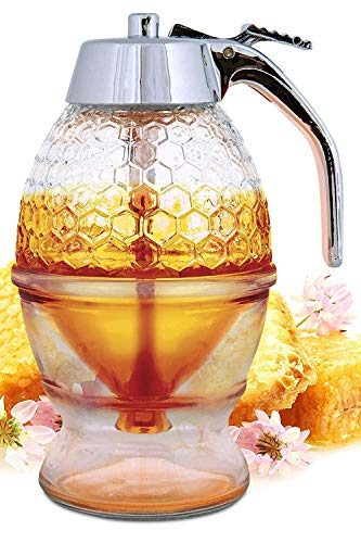 Honey Dispenser No Drip Glass