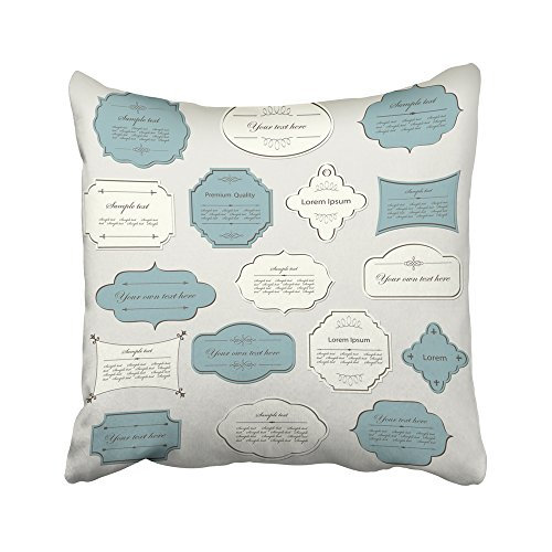 Emvency Decorative Throw Pillow Covers Cases Beige Label Vintage Calligraphic Design Calligraphy Formal Book Border Certificate Christmas 20X20 Inches Pillowcases Case Cover Cushion Two Sided -