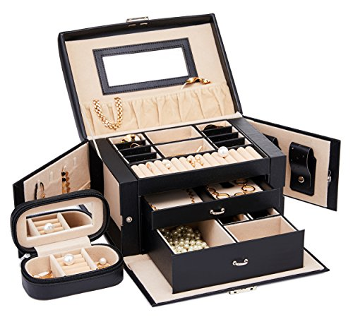 Finnhomy Jewelry Box Organizer Display Tray Storage Case Drawer 2 Layers Travel Jewelry Organizer with Mirror Girls Holder for Earring Ring Necklace Bracelet PU Leather Black - Covered Jewelry Box