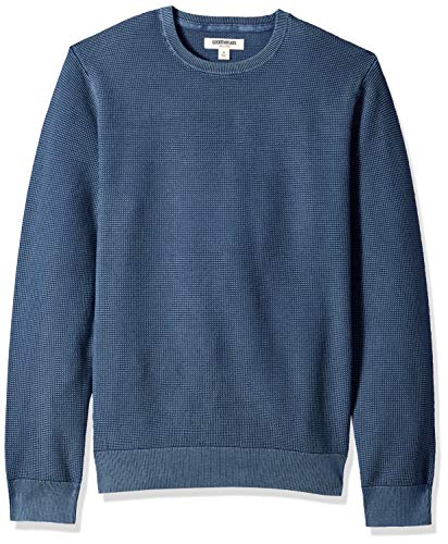 Goodthreads Men's Soft Cotton Thermal Stitch Crewneck Sweater, Washed Blue, Medium