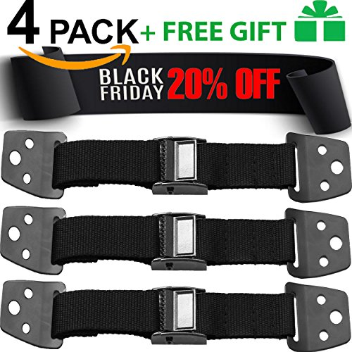 BLACK FRIDAY (TODAY 19.89) Anti Tip Furniture & TV Safety Straps – Set of 4 Straps – All Metal Parts – Heavy Duty Anchor – Flat Screen Safety – Child Proofing & Earthquake Straps