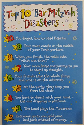 Top 10 Bar Mitzvah Disasters - Funny Greeting Card Mazel Tov -