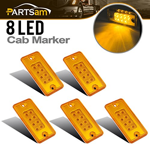 Cab Top Light Mount (Partsam 5x Amber Yellow 8LED Roof Running Light Top Clearance Cab Marker Light for Freightliner Volvo)