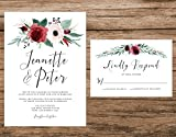Marsala and Blush Wedding Invitation, Maroon Floral Wedding Invitation, Fall Roses Wedding Invitation