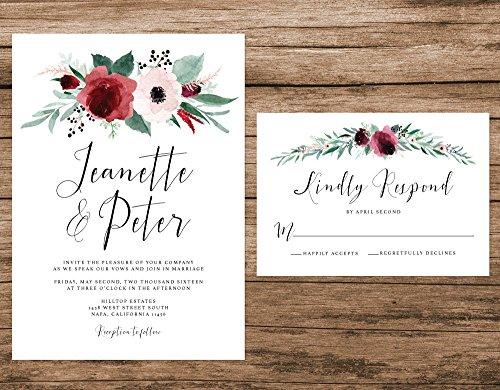 Marsala and Blush Wedding Invitation, Maroon Floral Wedding Invitation, Fall Roses Wedding Invitation by Alexa Nelson Prints