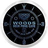 ncqr1107-b WOODS Beer Pong Man Cave Bar Pub LED Neon Sign Wall Clock