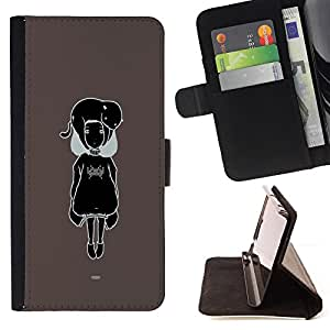 - Black & White Cute Girl - - Prima caja de la PU billetera de cuero con ranuras para tarjetas, efectivo desmontable correa para l Funny HouseFOR Apple Iphone 6 PLUS 5.5