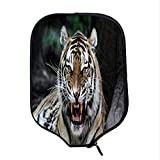 YOLIYANA African Durable Racket Cover,Tiger Face with Roaring Wildlife Safari Savannah Animal Nature Zoo Photo Print for Sandbeach,One Size