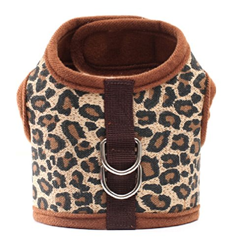 POPETPOP Pet Dog Canvas Chest Harness Vest - Size M (Leopard Print) ()