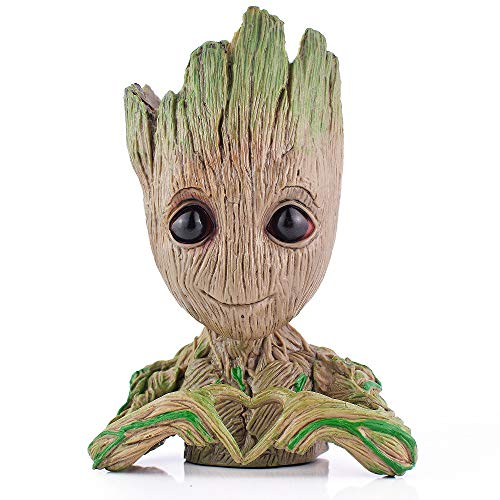 Groot Action Figures Fashion Guardians of The Galaxy Flowerpot Baby Cute Model Toy Pen Pot for Kids (Heart Tree)