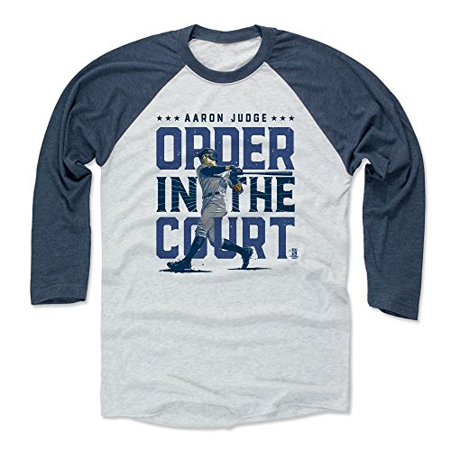 500 LEVEL Aaron Judge Baseball Tee Shirt XX-Large Indigo/Ash - New York Baseball Raglan Shirt - Aaron Judge Order B